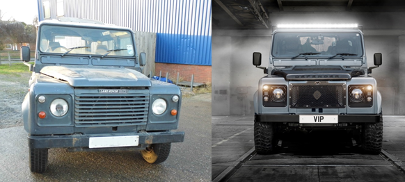 Land rover defender VIP vehicle restorations and custom unique refurbishments before and after defender front