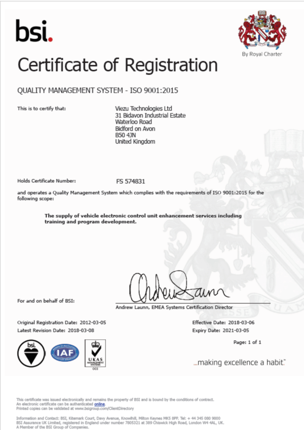 Viezu ISO 9001 2015 Registration